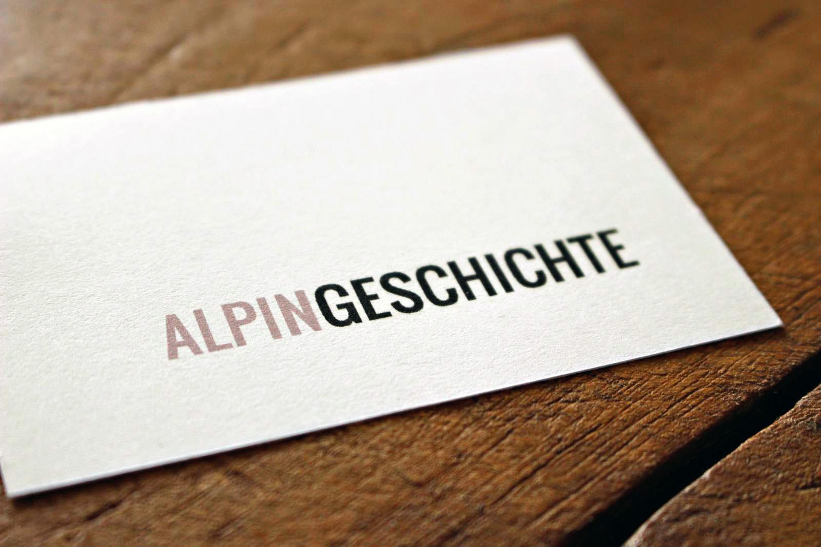 Visitenkarte für Alpingeschichte