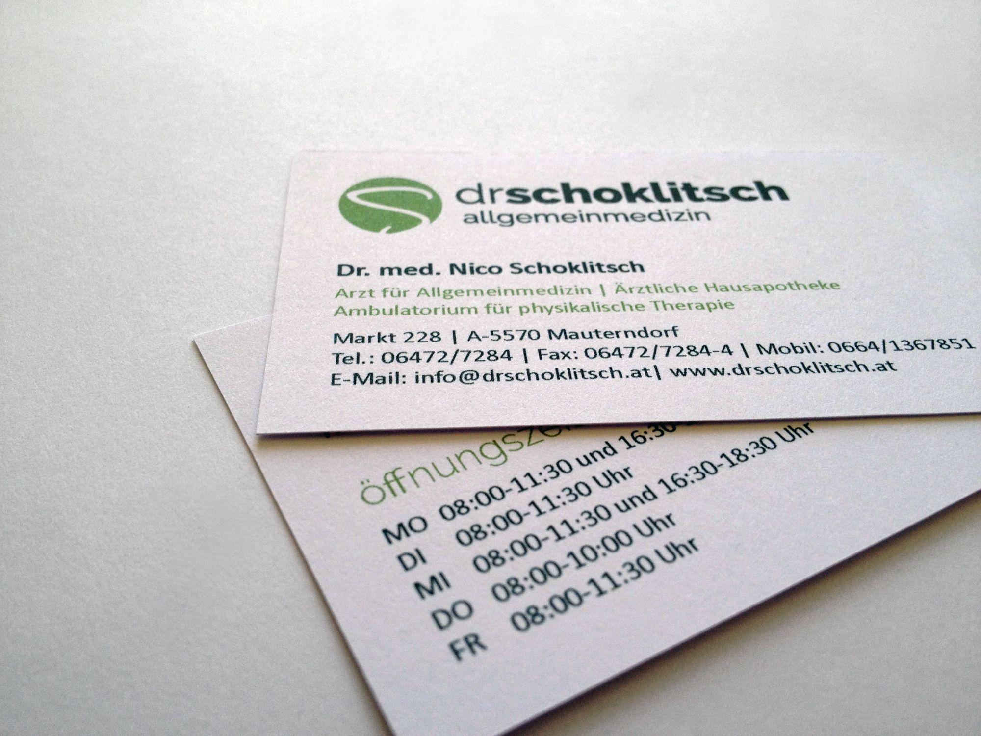 Corporate Design und Geschäftsausstattung für Dr. Nico Schoklitsch