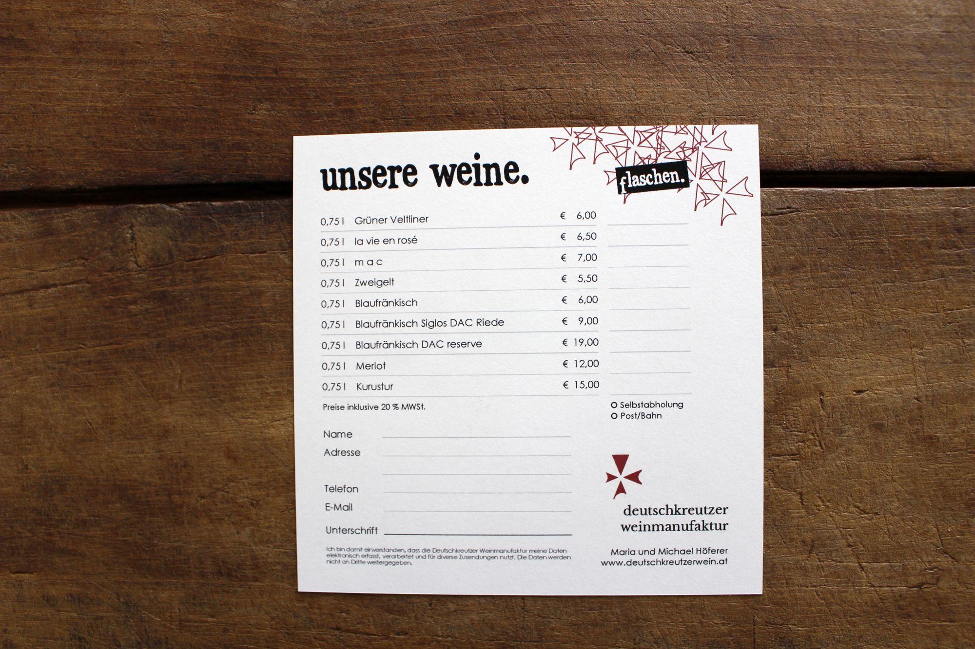 Weinpreisliste für die Deutschkreuter Weinmanufaktur