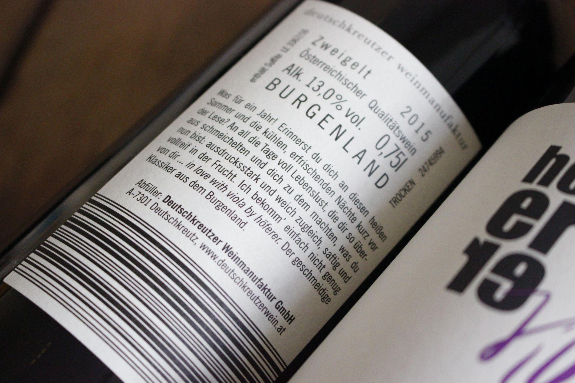 Weinlinie »viola« für die Deutschkreutzer Weinmanufaktur