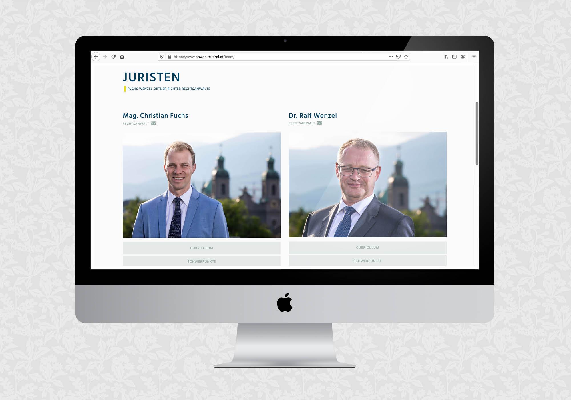 Website für Fuchs Wenzel Ortner Richter Rechtsanwälte | © fein fein