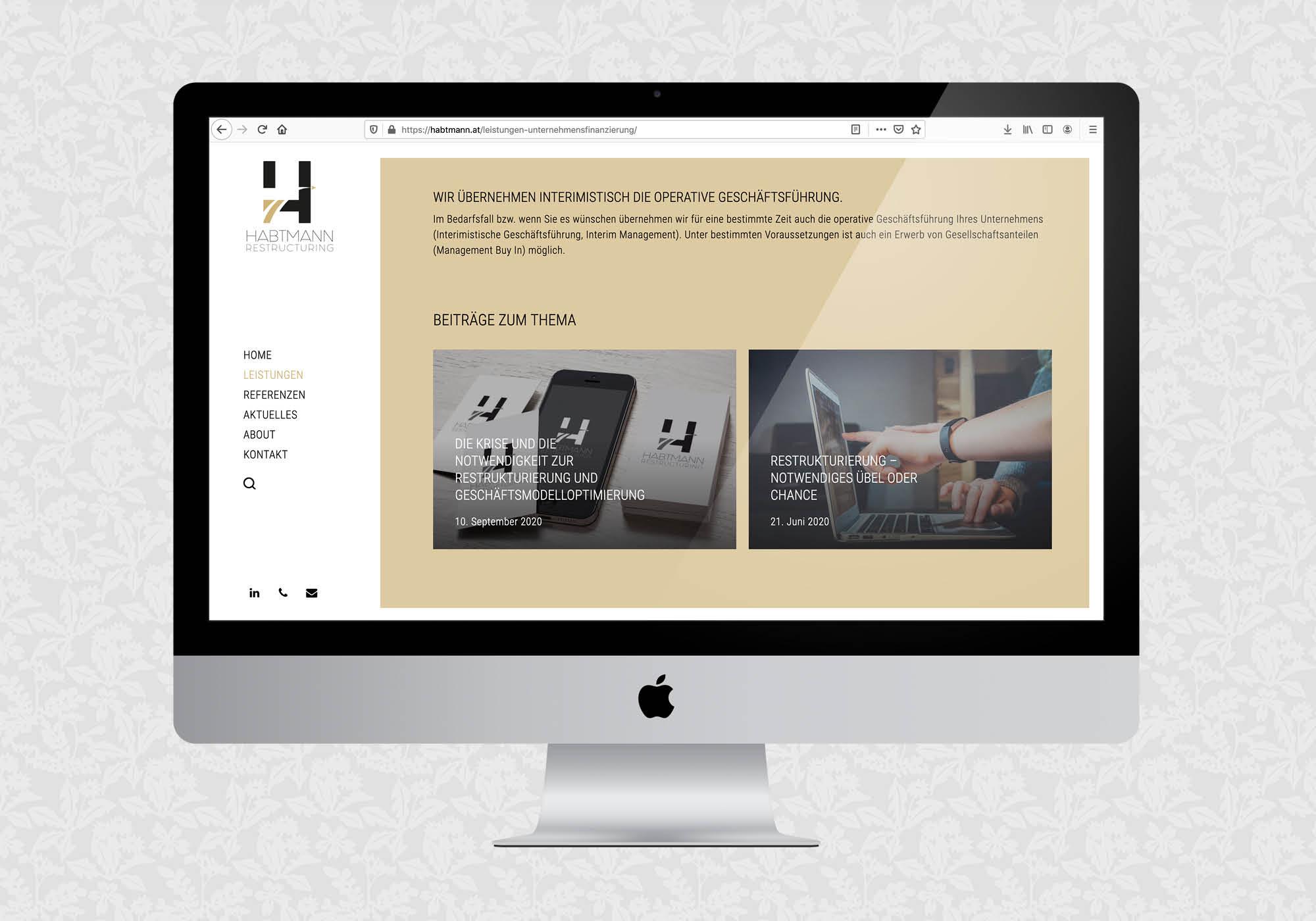 Website für Habtmann Restructuring | © fein fein