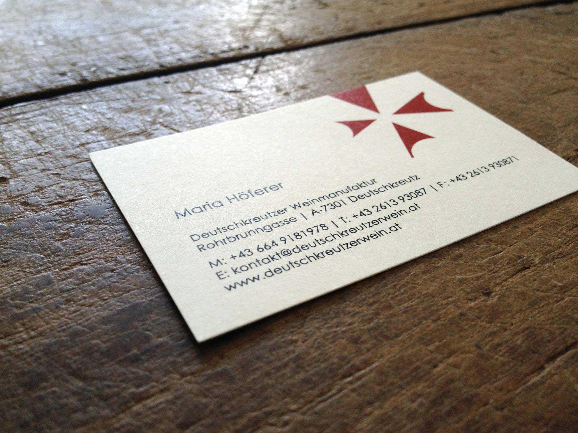 Visitenkarten für die Deutschkreutzer Weinmanufaktur