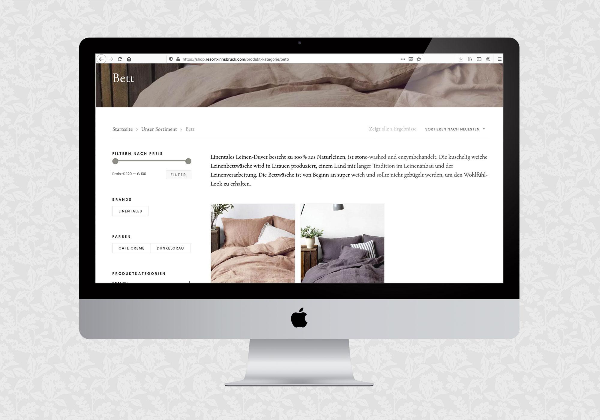 Webshop für Resort Innsbruck | © fein fein