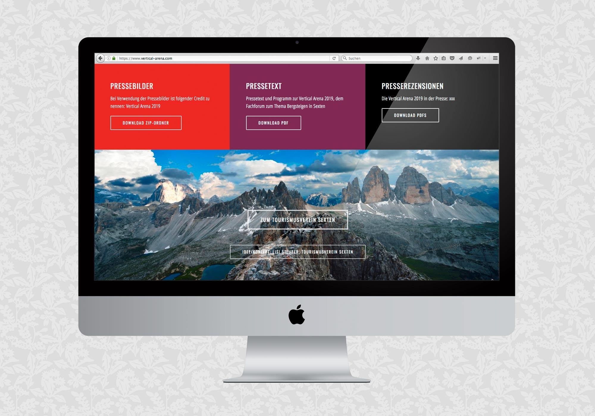 Website für die Vertical Arena | © fein fein