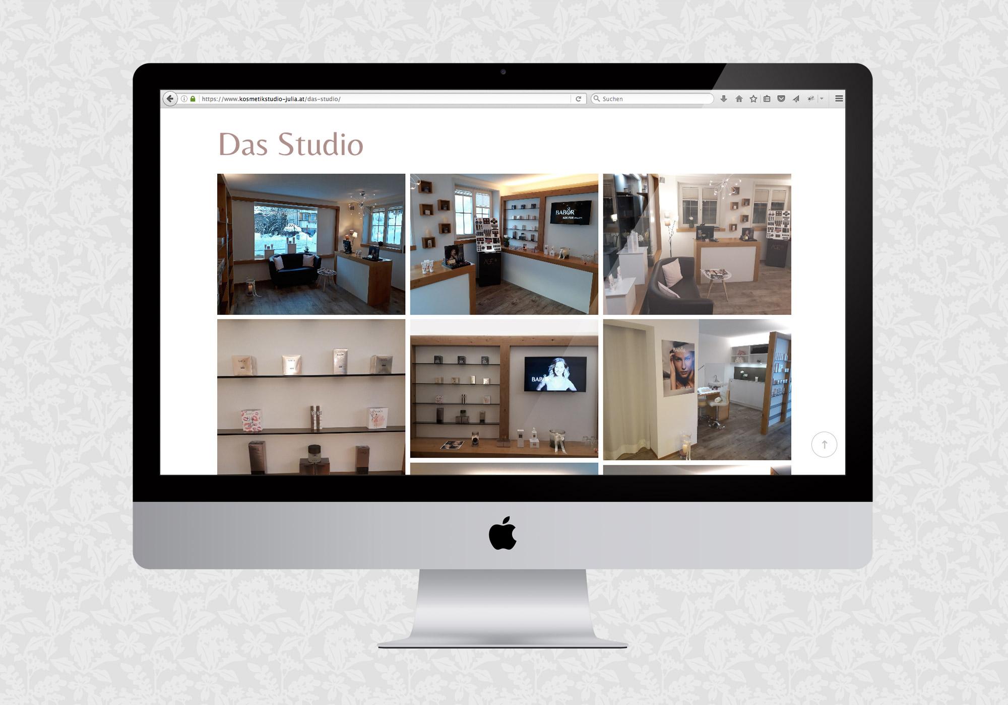 Website für das Kosmetikstudio Julia | © fein fein