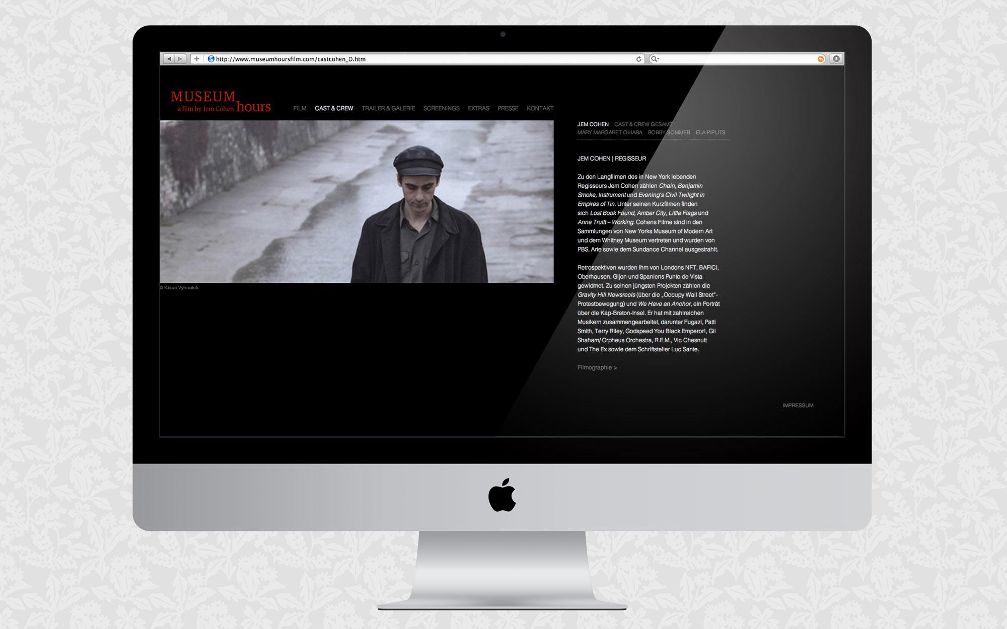 Filmwebsite für Museum Hours