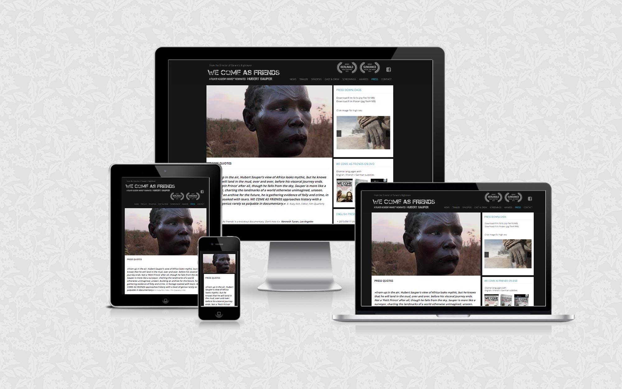 Filmwebsite für We Come as Friends