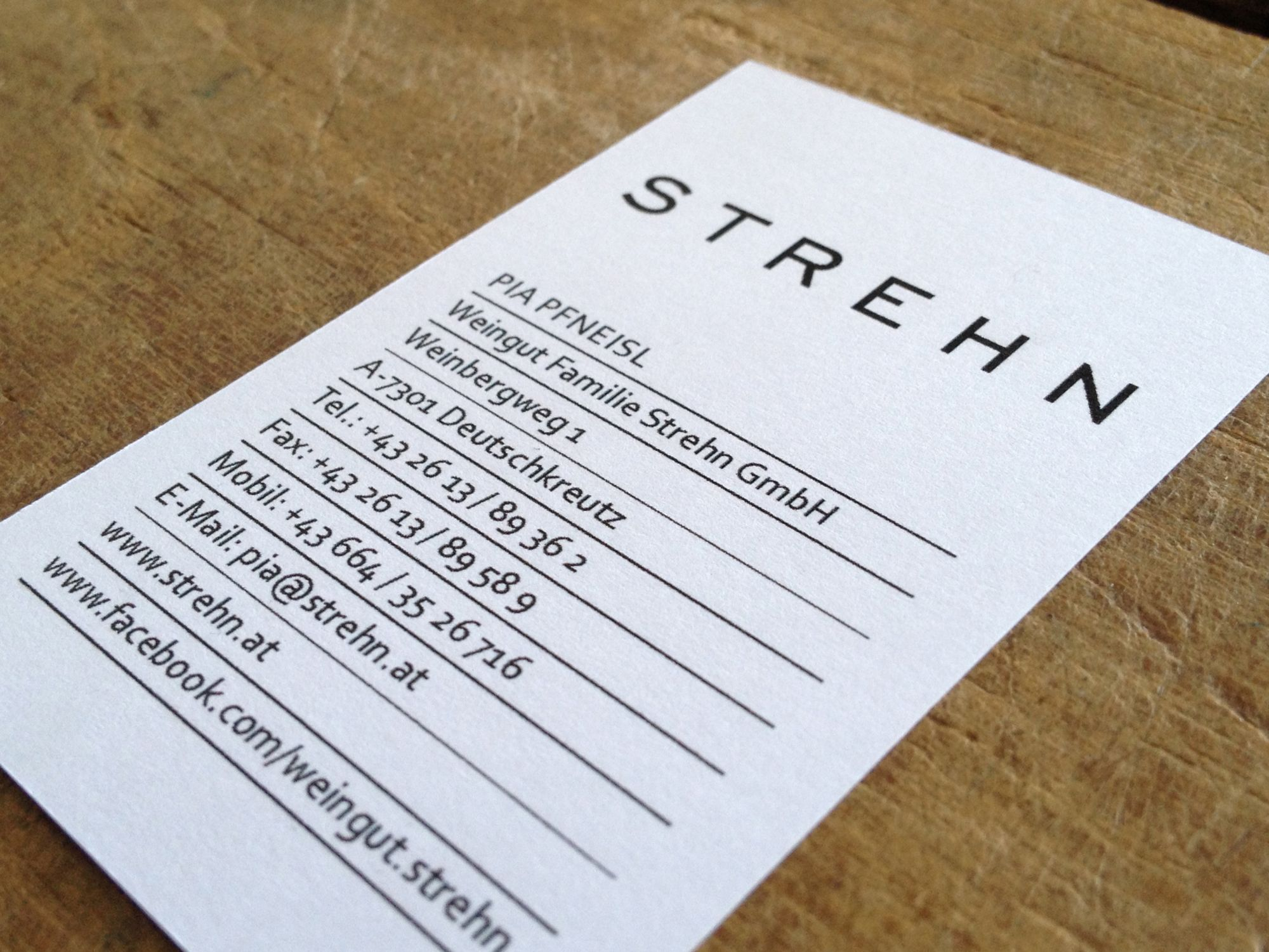 Visitenkarten für Weingut Strehn