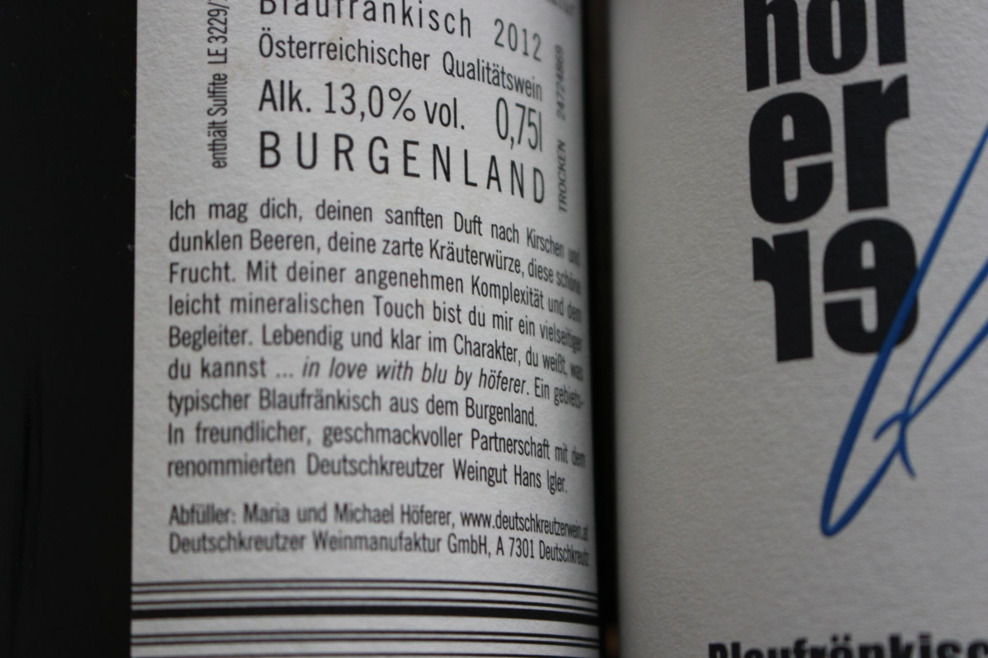 Weinlinie »blu« für die Deutschkreutzer Weinmanufaktur