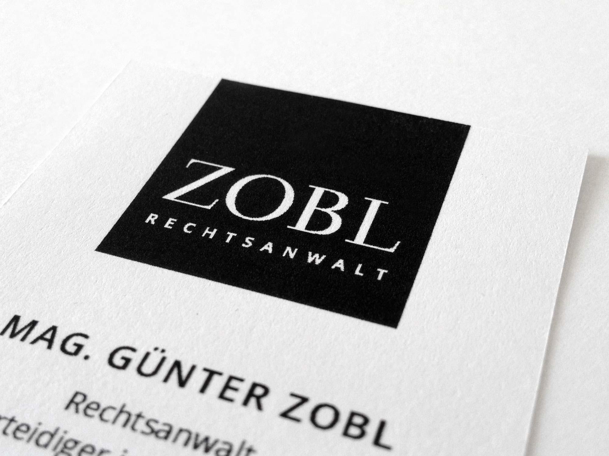 Logo und Geschäftsausstattung für Rechtsanwalt Günter Zobl