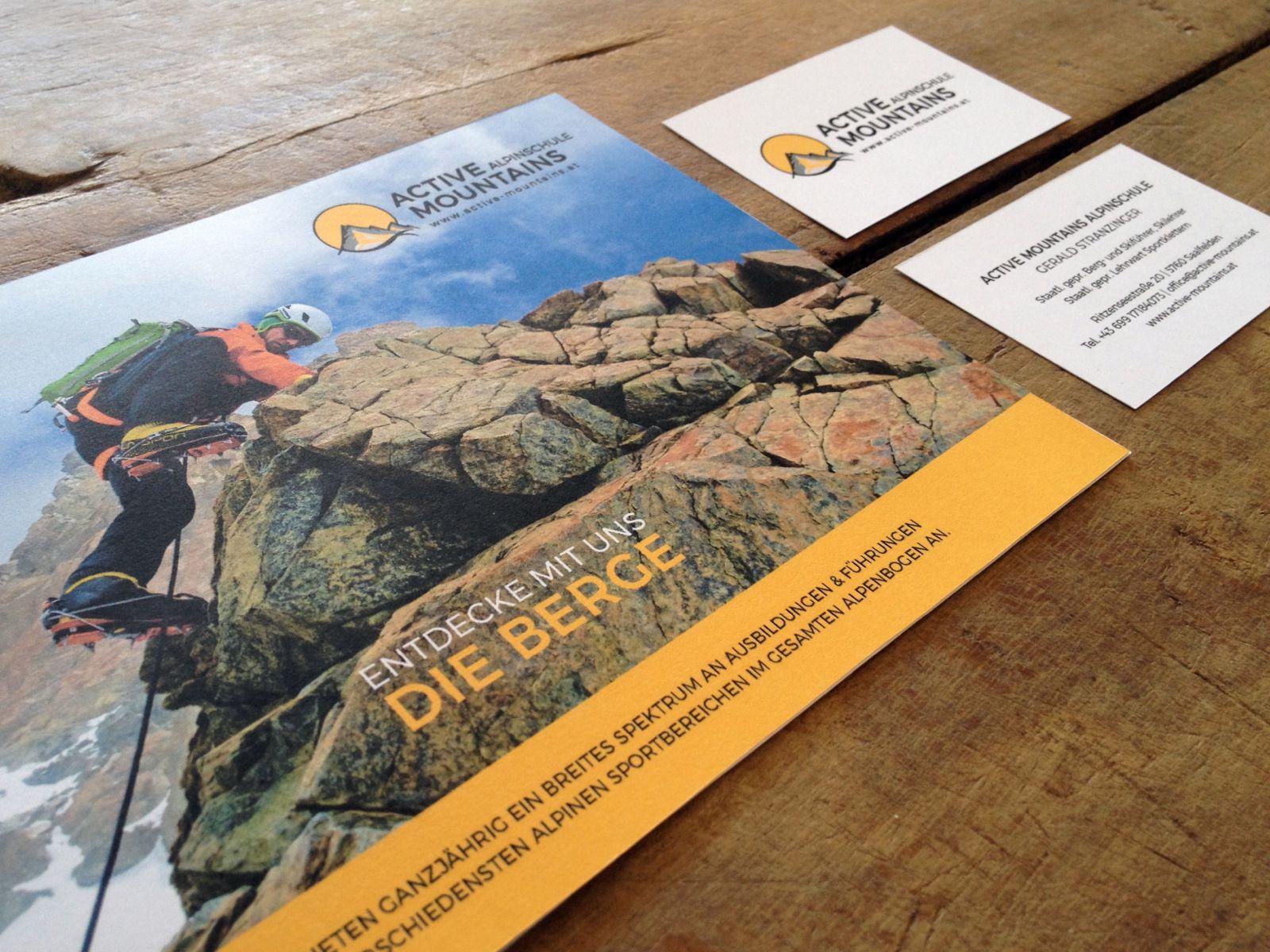 Logo und Drucksorten für Active Mountains