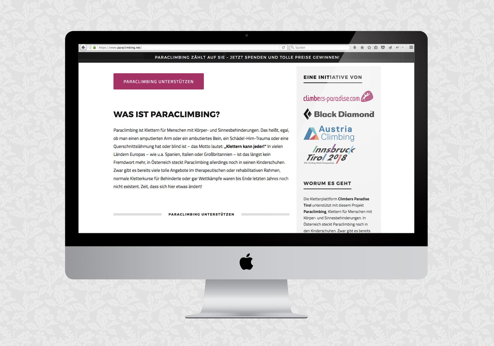 Landing Page und Blog für Paraclimbing | © fein fein
