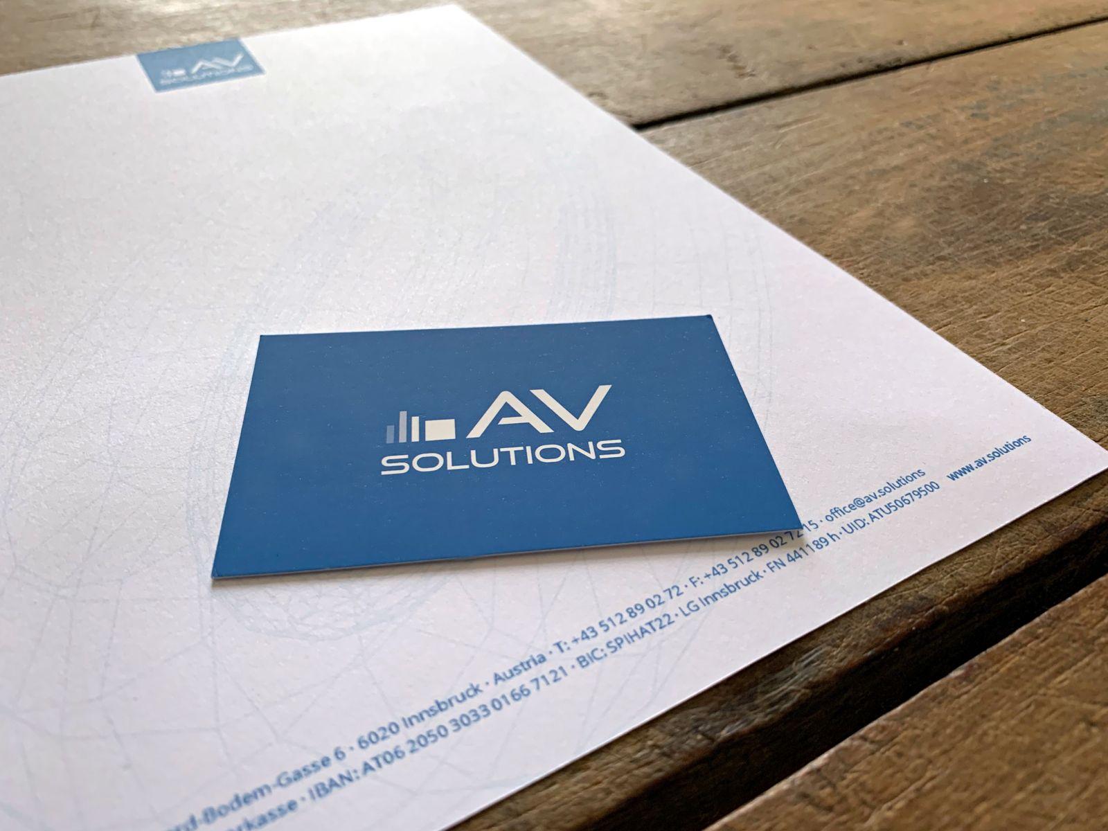 Corporate Design und Drucksorten für AVsolutions | © fein fein