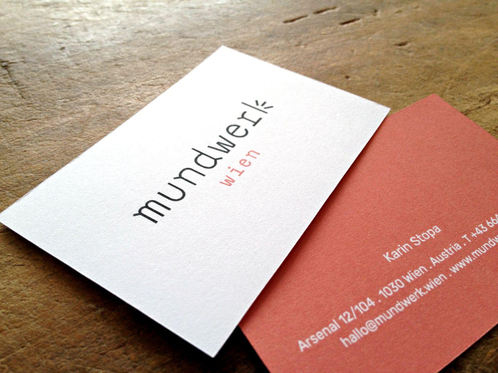Visitenkarten für mundwerk wien & Karin Stopa Mentoring