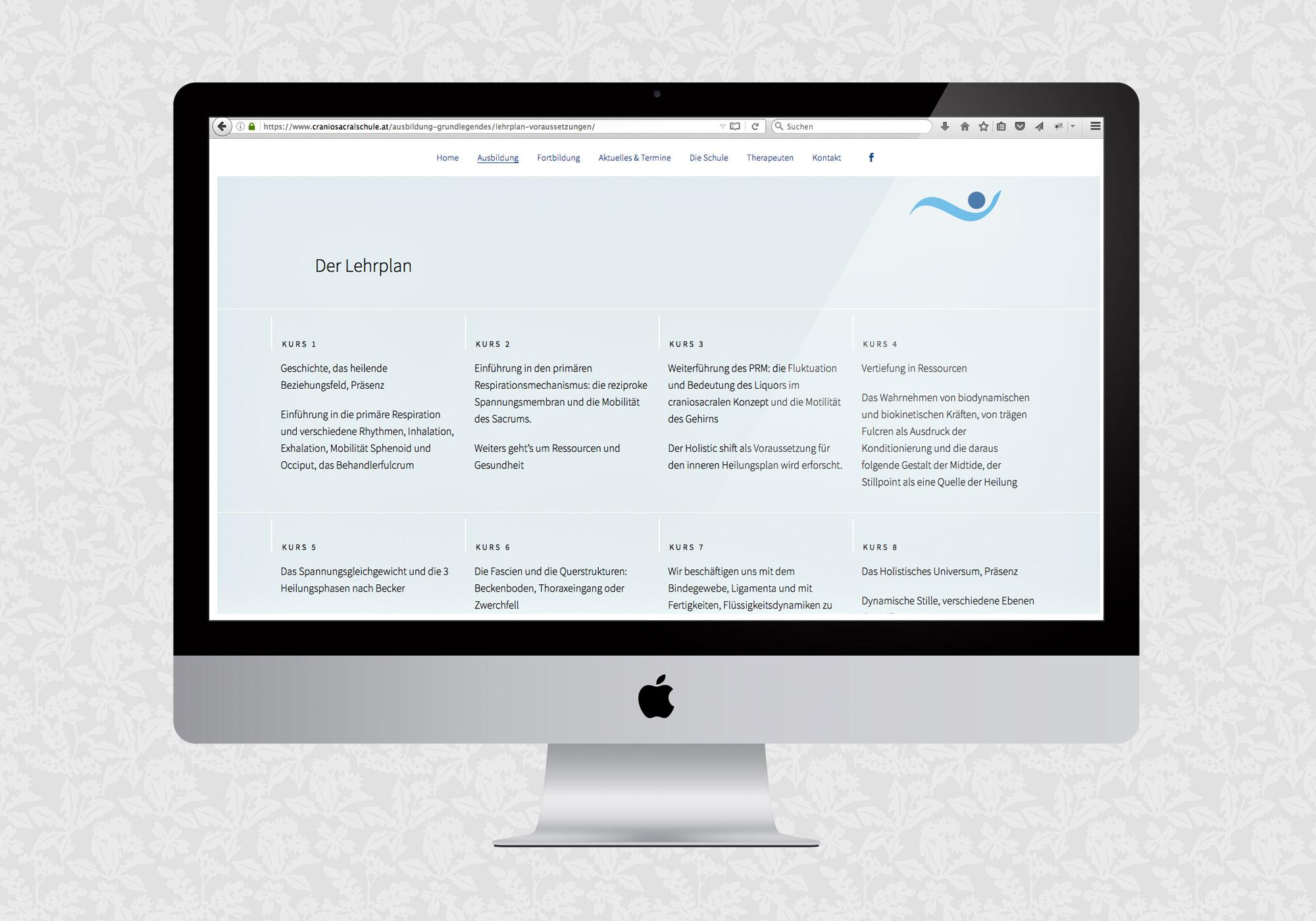 Website für die Wiener Schule für Craniosacrale Biodynamik | © fein fein