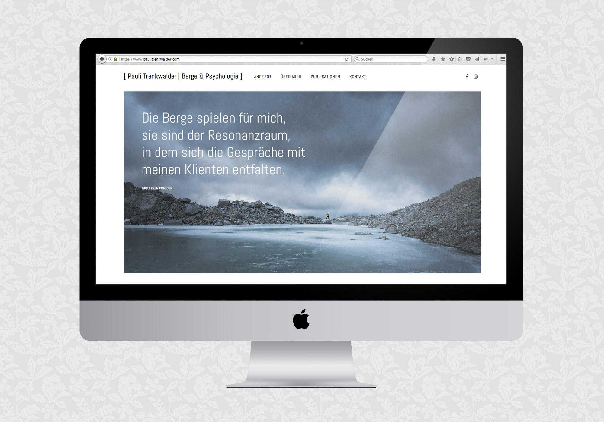 Website für Pauli Trenkwalder, Berge & Psychologie | © fein fein