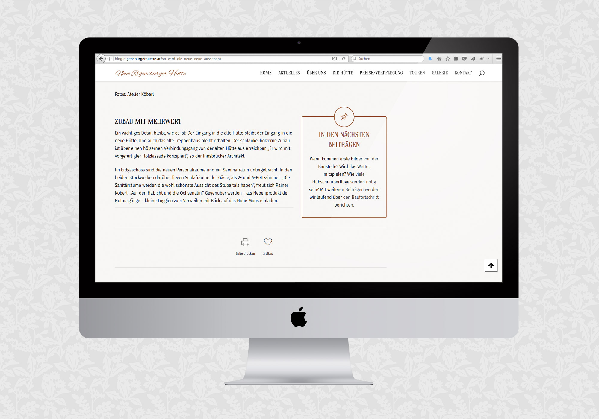 Blog für die Neue Regensburger Hütte / fein fein