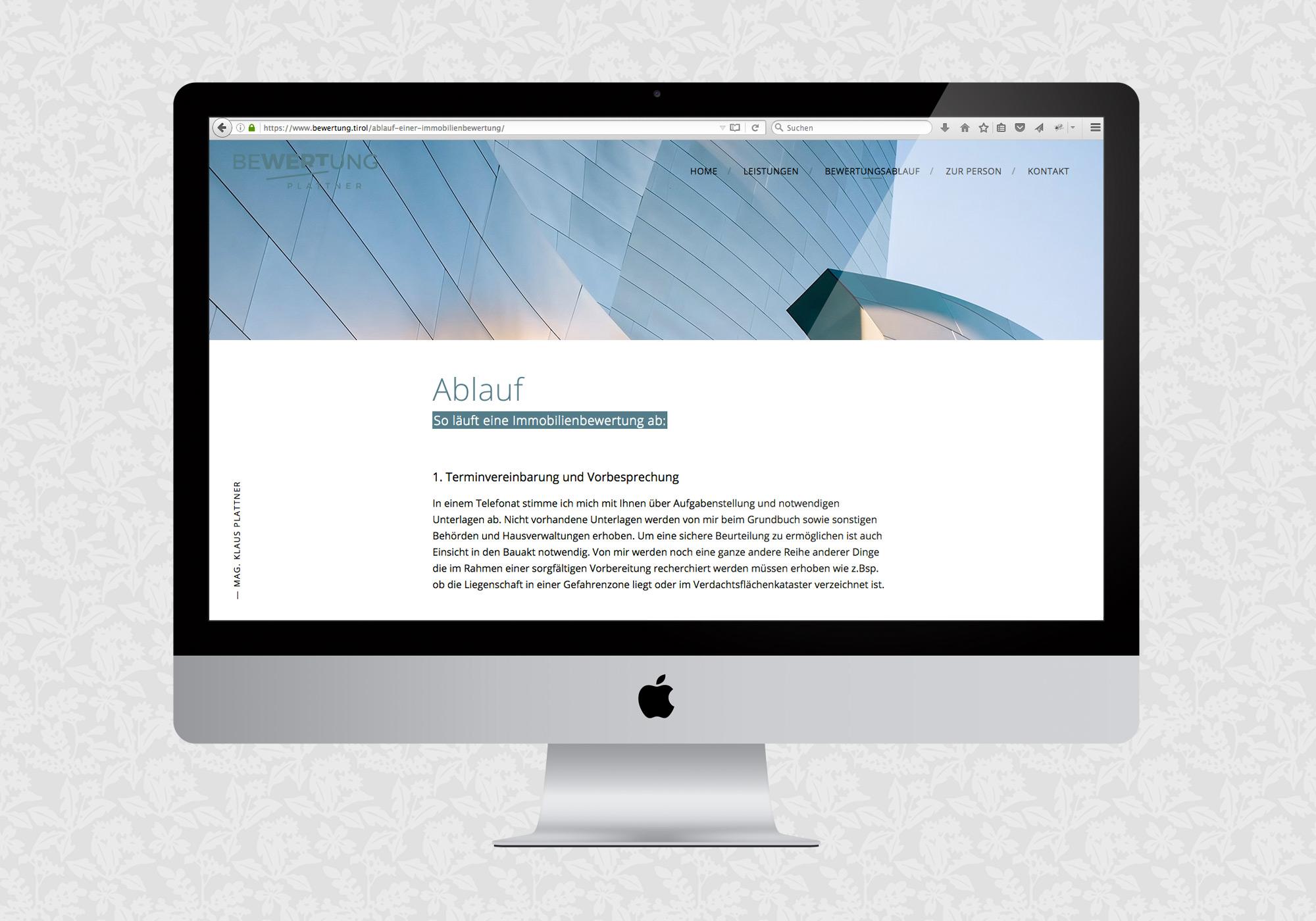 Website für Plattner Immobilienbewertung / fein fein