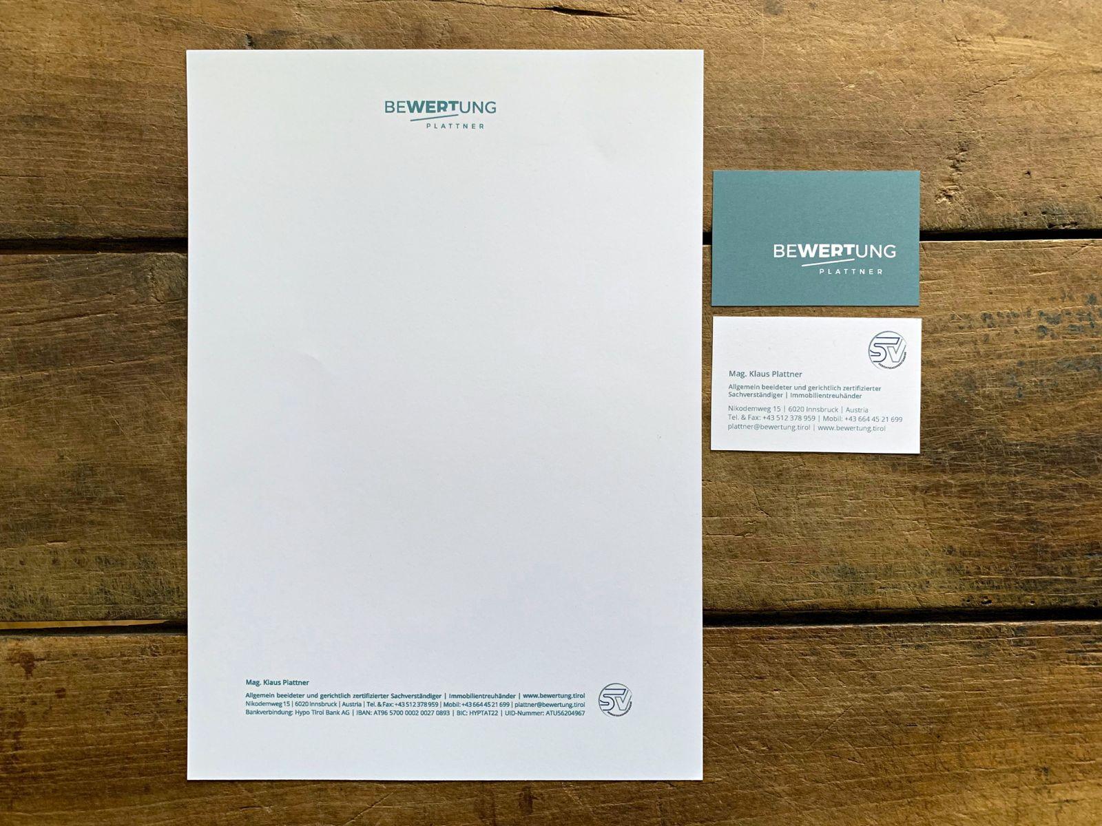 Corporate Design und Geschäftsausstattung für Bewertung Plattner | © fein fein