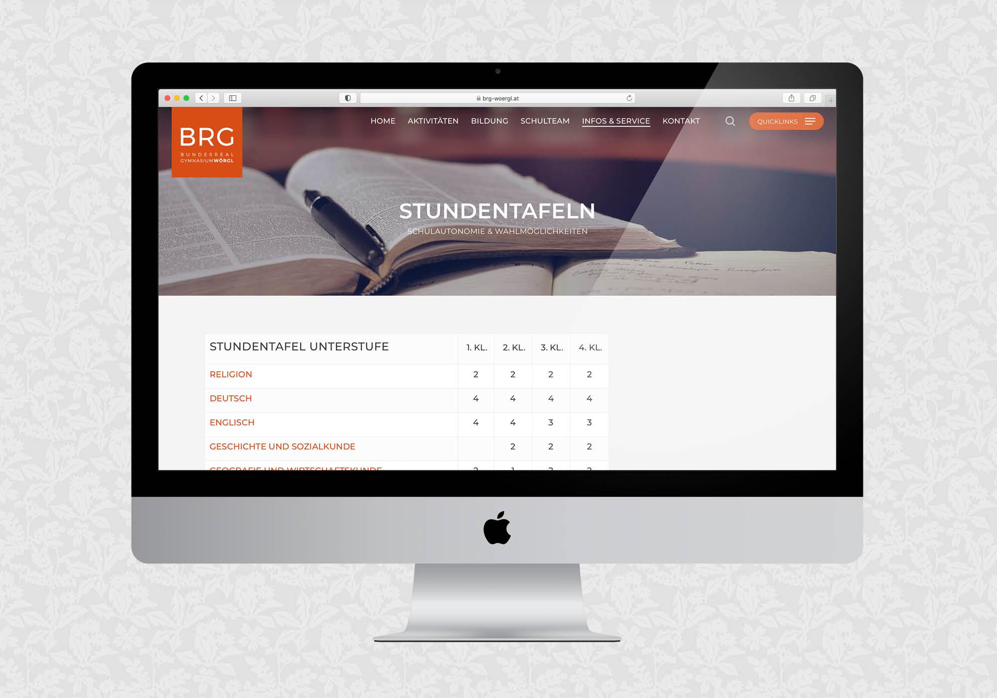 Website für das BRG Wörgl | © fein fein