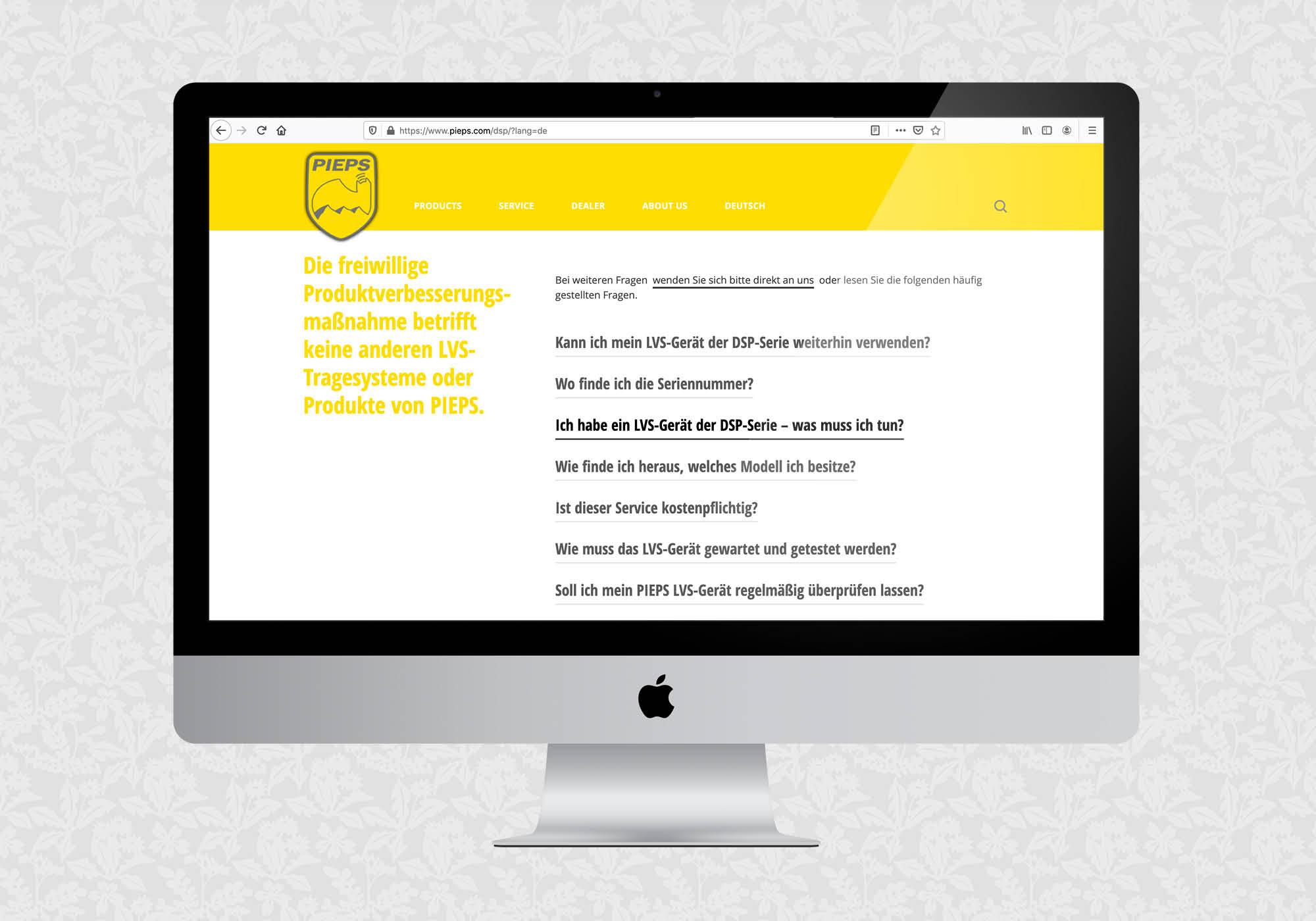 Landing Page für Pieps DSP   © fein fein