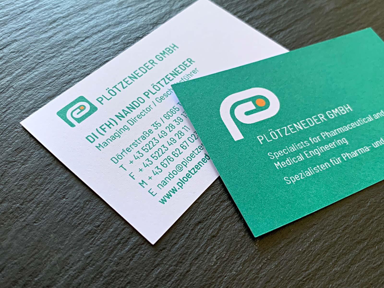 Visitenkarte für die Plötzeneder GmbH   © fein fein